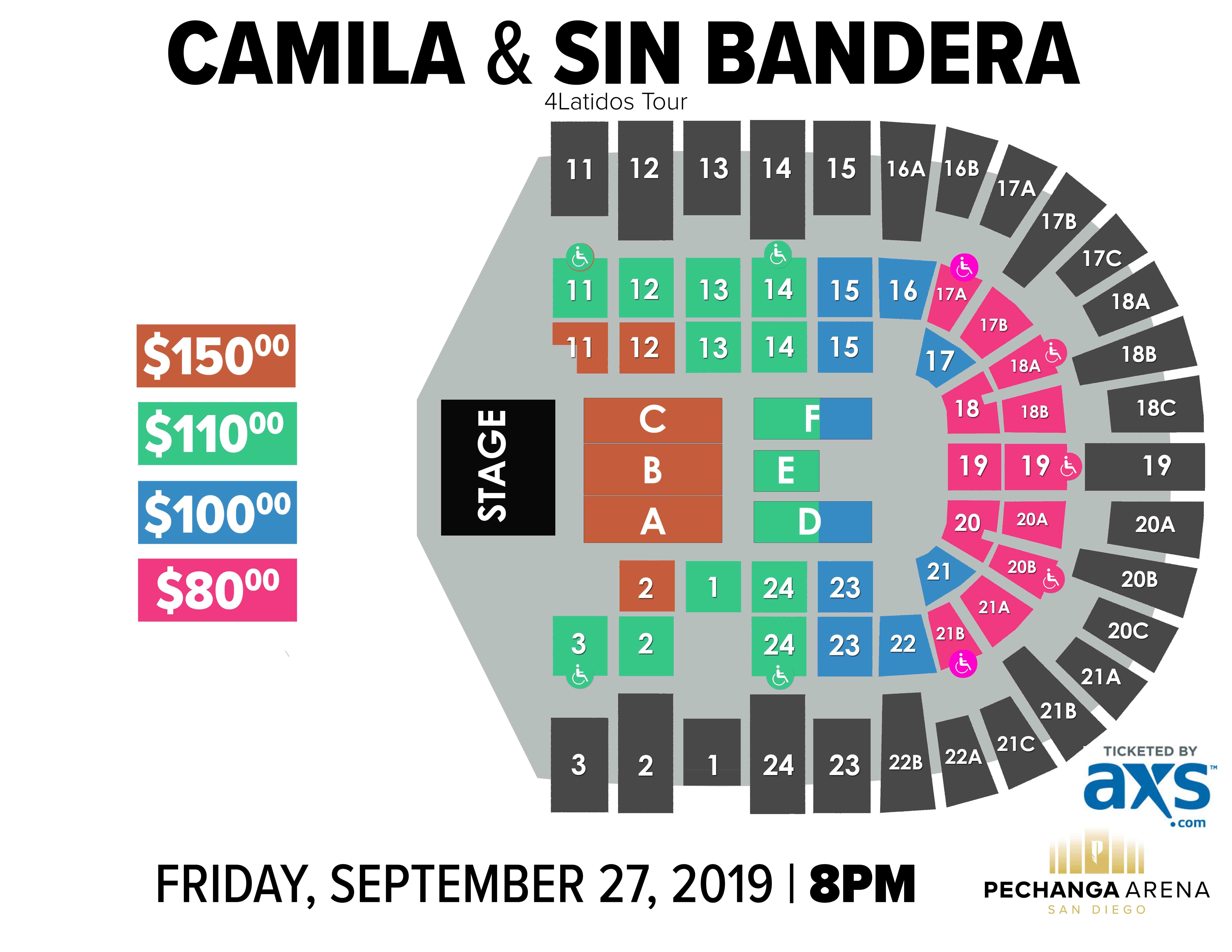 Camila & Sin Bandera: 4 Latidos Tour | Pechanga Arena San Diego