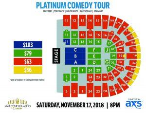 VVCC Platinum Comedy Tour Layout